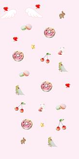 4 ピンク 小鳥とウサギ