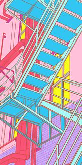 門司港駅の隣の建物の階段