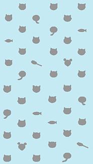 猫玉模様ときどき魚ときどき・・・水色と灰色