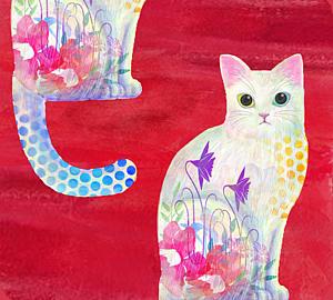 猫・白猫 手帳型