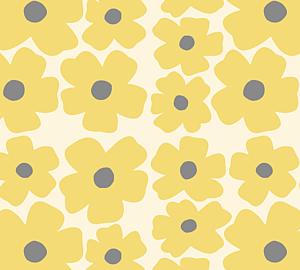 北欧 花柄 パステルイエロー