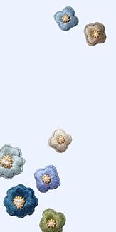 刺繍のお花 ブルー