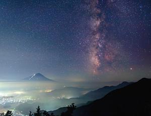 星空手帳型ケース~富士山・天の川・町景色~