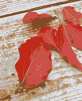 「白いテーブルと紅く色付いた枯れ葉」~インテリア~
