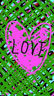 『LOVEハート』グリーンチェック×ピンクハート×黒ロゴ