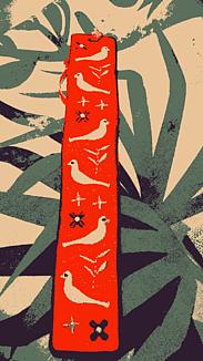 『鳥刺繍の栞ーしおりー』レッド系