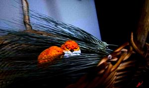 〔麦と鳥の置物〕