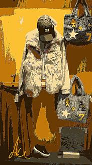 『ディスプレイの洋服とバッグ』①