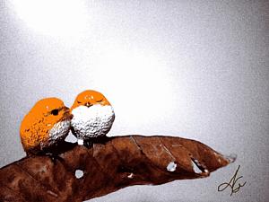 『枯れ葉に乗った鳥さんたち』