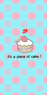 水玉 水色 赤色 青色 ケーキ ケースフレーム