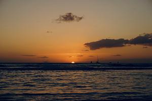 ハワイ☆ワイキキビーチのサンセット青×オレンジ