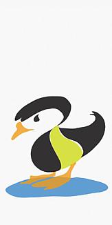 シンプル水鳥 グリーン ホワイト