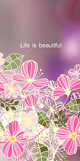 Life is beautiful  ピンクの花 (紫)