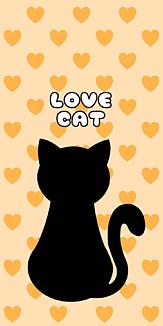 黒猫 LOVE CAT(ハートイエロー)