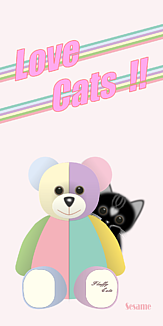 Love Cats 猫 Cat 黒猫 ぬいぐるみのくま