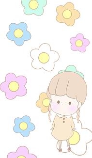 お花とそばかす女の子(ホワイト)
