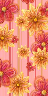 色鉛筆画、花柄、赤