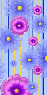 手描き風花柄、青