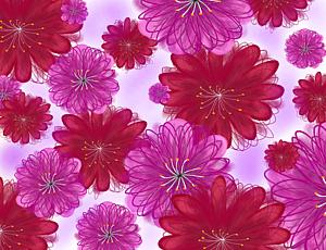 手描き風花柄ピンク