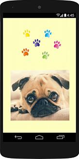 スマホの中にうるうる目のパグ21 (犬)