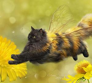 ミツバチになった可愛いネコちゃん