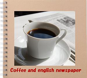 アルバムの表紙にコーヒー&英字新聞