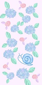 カタツムリと紫陽花 ピンク