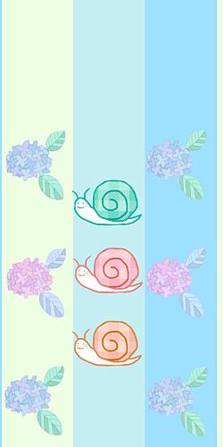 3匹のカタツムリと紫陽花