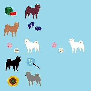 柴犬と日本の夏(水色/全12色)