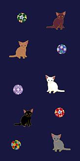 猫と毬(紺桔梗)