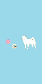 柴犬と水風船(水色/全12色)(シンプルVer.)