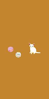 猫と水風船(小麦色/全12色)(シンプルVer.)