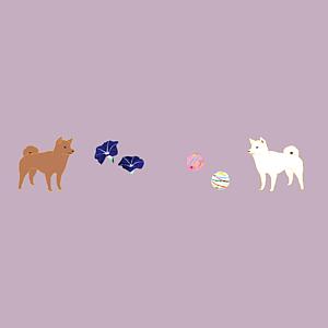 柴犬と日本の夏(薄紫/全12色)(シンプルVer.)
