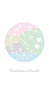 北欧パステル 花と鳥(ホワイト)
