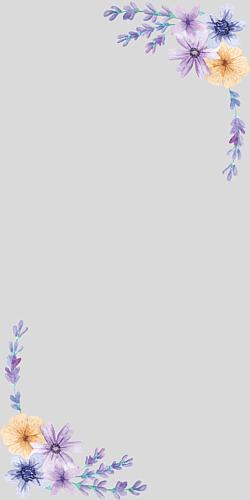 flowers 水彩 グレー