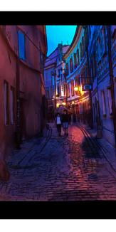 夜のチェコ イラスト風