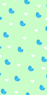 青い鳥&ハート グリーン