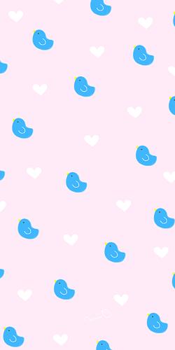 青い鳥&ハート ピンク