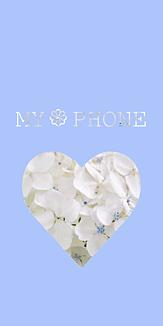 Flowerハート  ホワイト×ブルー(あじさい)