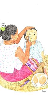 ミャンマーの親子