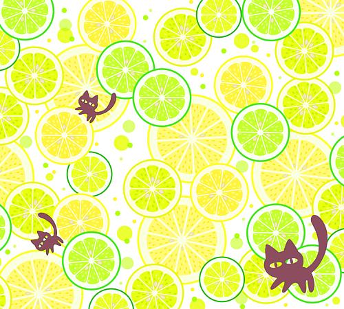 猫とフルーツ茶
