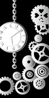 歯車 時計 鎖 黒