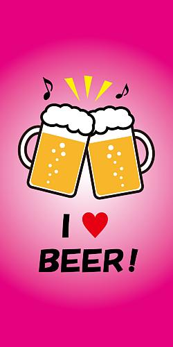 ビールで乾杯♪ ピンク