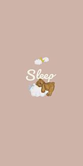 sleep おやすみ テディベア ピンクベージュ