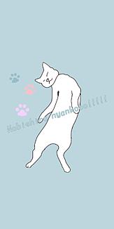 伸び白猫_水色